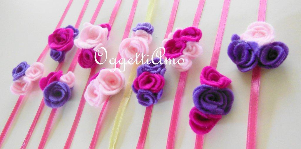 20 Natri decorati con fiori di feltro: braccialetti, decorazioni per codini, idee regalo per compleanni di bambine!
