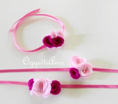 6 Natri decorati con fiori di feltro: braccialetti, decorazioni per codini, idee regalo per compleanni di bambine!