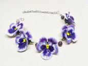 Bracciale viole del pensiero, bracciale violette, bracciale fiori, bracciale perle, perle occhio di gatto, bracciale made in Italy