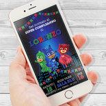 Invito compleanno Super Pigiamini digitale - Invito compleanno WhatsApp - Invito digitale PjMask