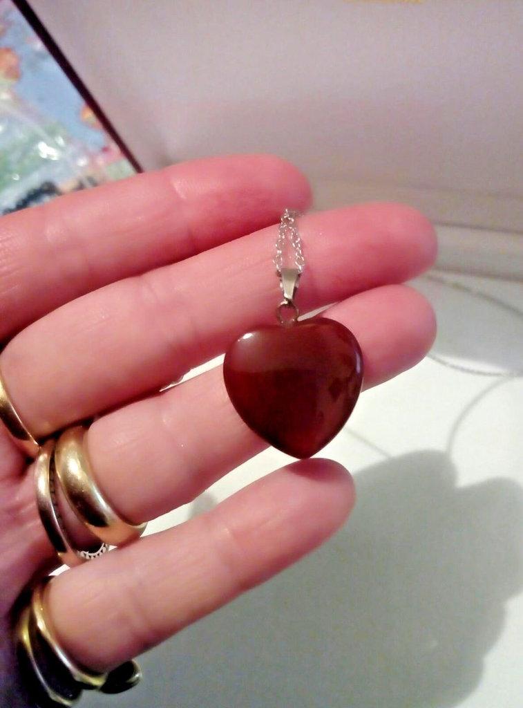 Collana donna con cuore in vera agata rossa pietra dura naturale chakra cristalloterapia