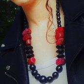 Collana in legno e Agata rossa