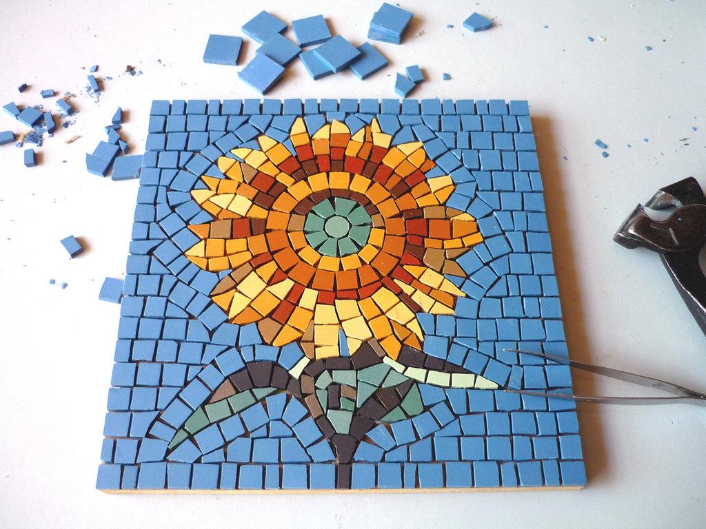 Girasole kit mosaico fai da te materiali materiali for Mosaico fai da te