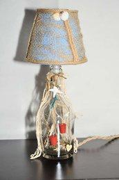 Lampada da tavolo Bottiglia Ispirata dal mare - Blu