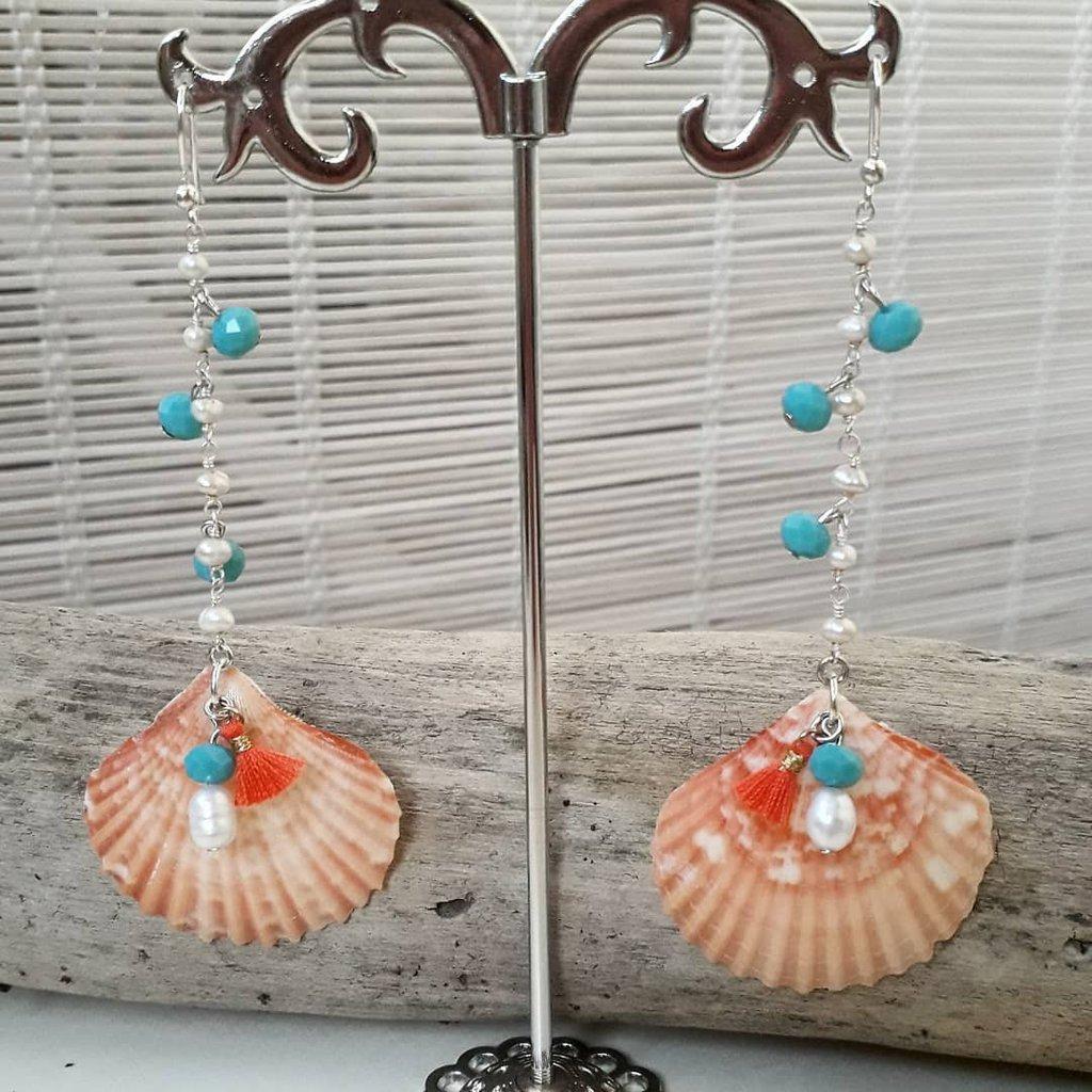 Orecchini in argento 925 con perle e conchiglie