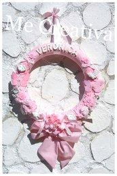 Ghirlanda nascita tessuto rosa