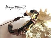 Bracciale UOMO AMO da pesca  NAUTICO in pelle braccialetto uncino marinaro regalo