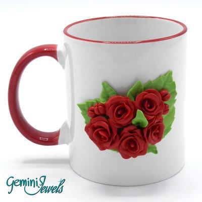 Tazza ceramica decorata in fimo, fatto a mano, Rose