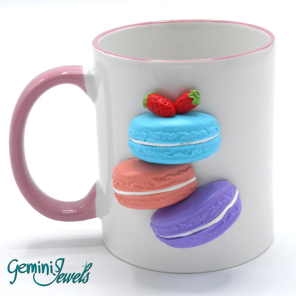 Tazza ceramica decorata in fimo, fatto a mano, Macarons