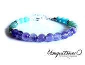 Bracciale da uomo o donna con perle in Ametista, avventurina e Amazzonite, bracciale di perle, pietre preziose,idea regalo, per lui