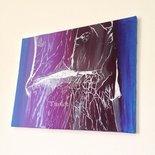 Dipinto acrilico su tela - quadro astratto arte moderna con elementi a rilievo