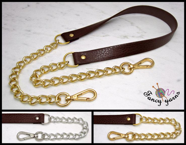 Tracolla per borsa lunga cm.85 - similpelle marrone 2 cm. a scelta rifiniture oro o argento
