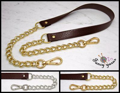 Tracolla per borsa lunga cm.115 - similpelle marrone 2 cm. a scelta rifiniture oro o argento