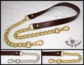 Tracolla per borsa lunga cm.130 - similpelle marrone 2 cm. a scelta rifiniture oro o argento