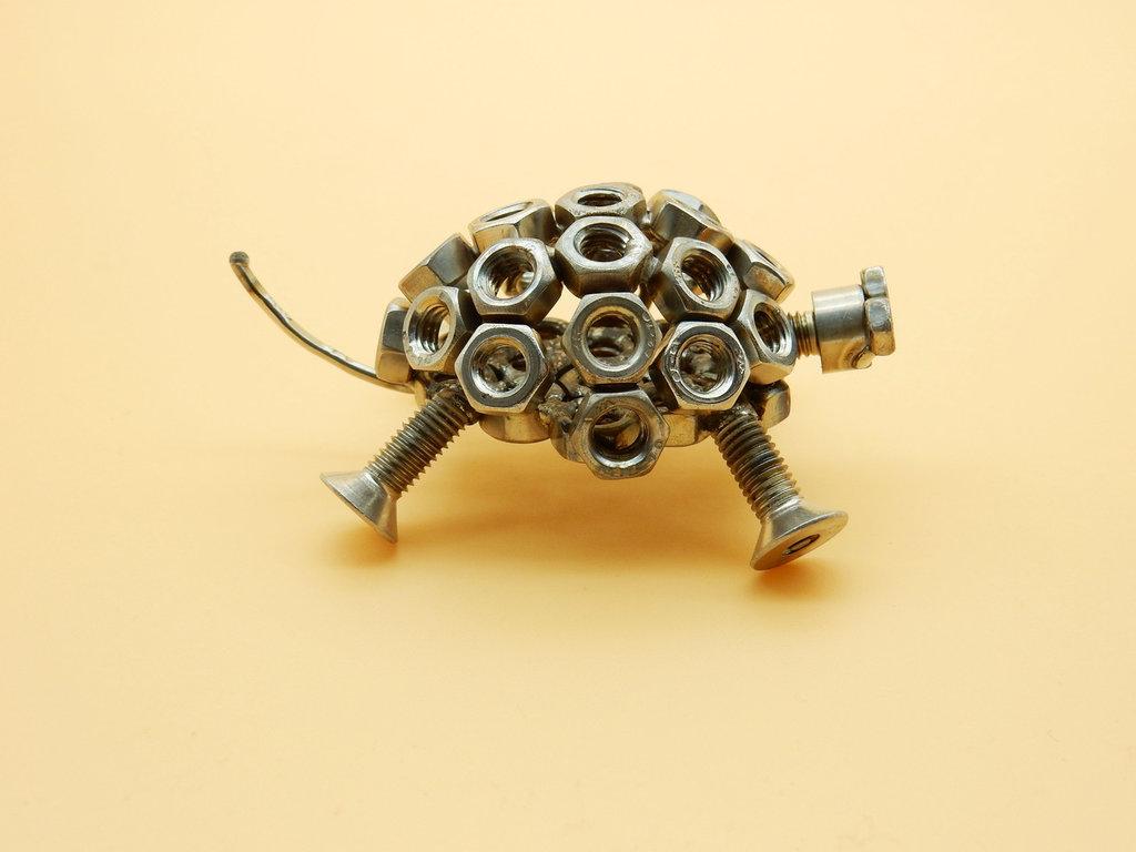 fantasy scultura scultura acciaio regalo regalo natale tartaruga tartaruga acciaio   art metal arte del riciclo riciclato