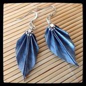 Orecchini Origami Blue Leaf
