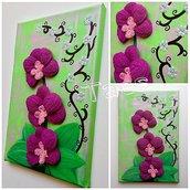 Quadro orchidee a uncinetto su tela dipinta con tempere acriliche made in Italy