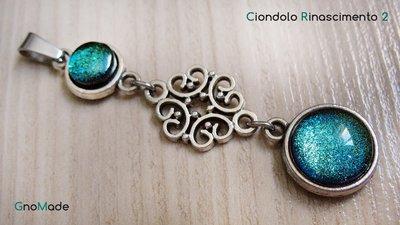 CIONDOLO RINASCIMENTO 2 - stile antico con cabochon glitter ottanio verdemare