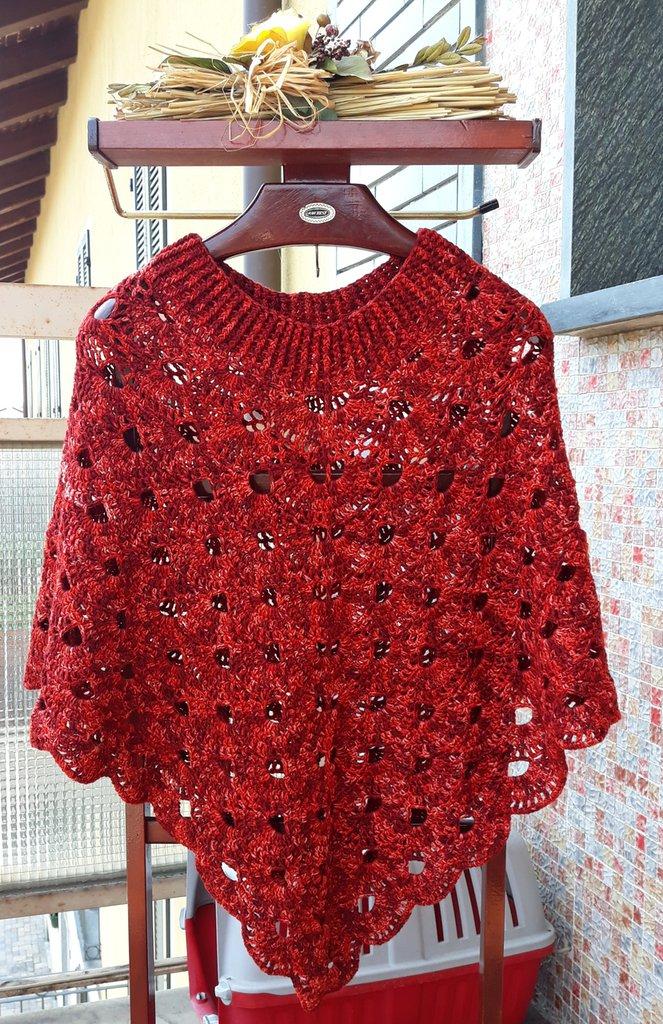 bel design sfumature di colori armoniosi Poncho in lana punto virus