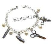 Bracciale Parrucchiera - Idea regalo - Con forbici, lacca, phon - asciugacapelli e pettine - miniature handmade kawaii