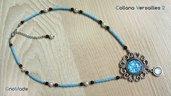 COLLANA VERSAILLES 2 - con cabochon glitter bianco azzurro e catenella con perline