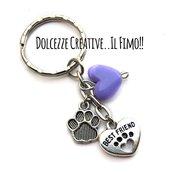 Portachiavi - I love My Dog - con impronta di zampa, cuore e cuoricino in metallo - idea regalo