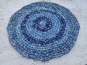 Tappeto artigianale rotondo tappetino blu jeans, diametro 60 cm, ottimo come copertina per animali o in bagno