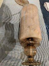 Vaso fumè, ricambio per applique o lampadari di Venini, Mazzega, Arlecchino, Seguso con pezzi rotti, in vetro soffiato di Murano