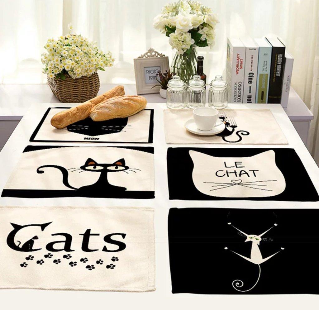 Tovagliette americane gatto in cotone di lino