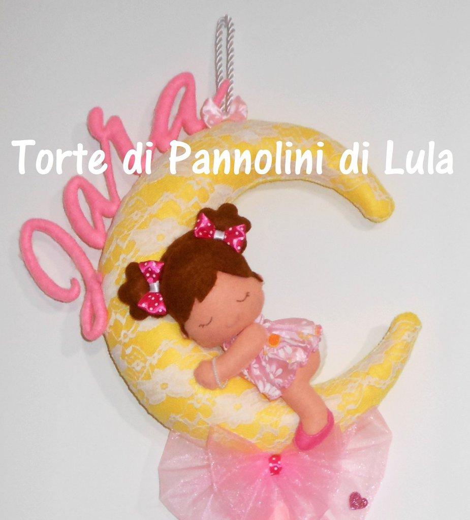 Fiocco nascita luna bebè coccarda rosa nome personalizzato feltro pizzo femmina fuori porta