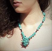 Collana pasta di turchese e cristalli