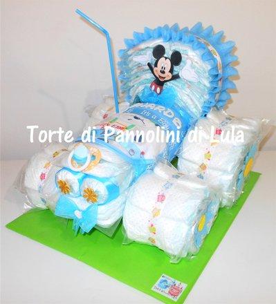 Torta di Pannolini Pampers Trattore idea regalo nascita battesimo baby shower maschio