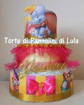 Torta di Pannolini Pampers a TEMA Dumbo elefante elefantino regalo nascita battesimo