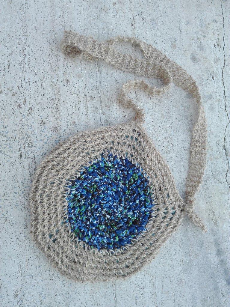 Borsa borsetta artigianale rotonda fatta a mano uncinetto