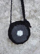 Borsa borsetta artigianale rotonda fatta a mano nera