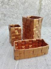 Set cestini portatrucchi contenitori portaoggetti 3 pezzi