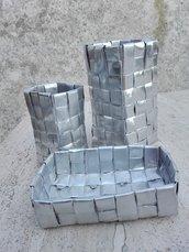 Set cestini portatrucchi contenitori portaoggetti 3 pezzi color argento