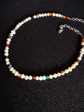 Collana perle di fiume e pietre dure