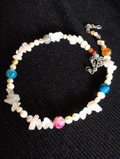 Collana perle di fiume , pietre colorate,quarzo rosa
