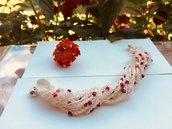 Bracciale a uncinetto con perline rosse