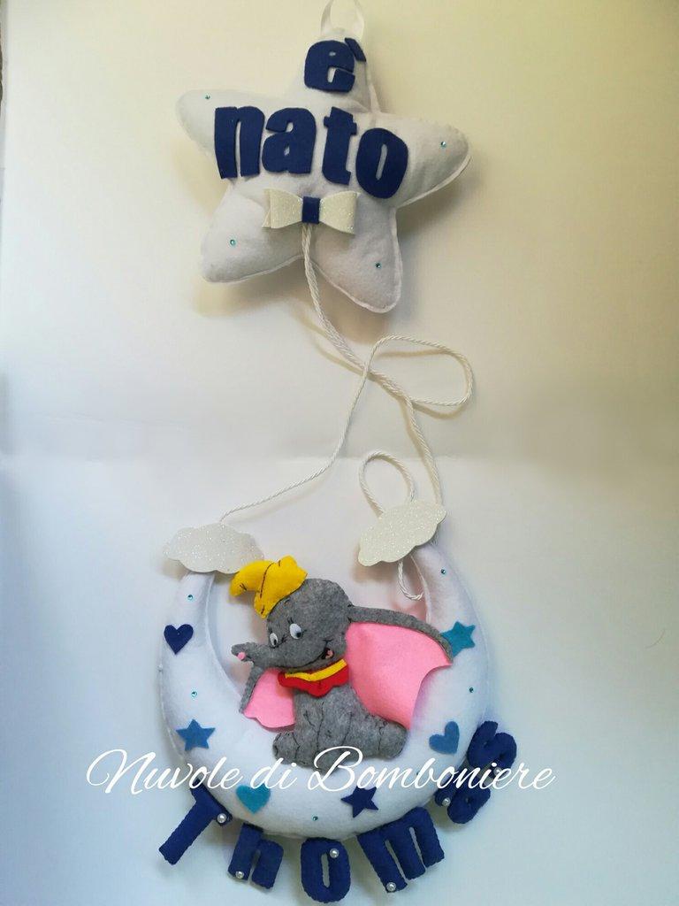 Fiocco nascita coccarda fuori porta decorazione bimbo Dumbo luna stellata cuore