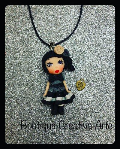 Collana gothic doll in fimo - gioielli fatti a mano