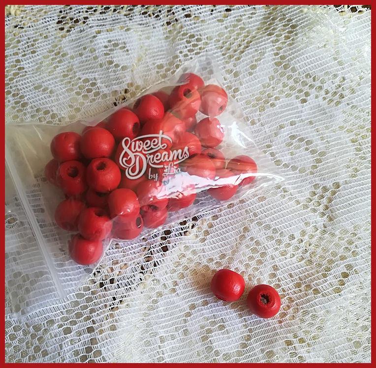 Lotto di 25 perle in legno 8 mm colore ROSSO