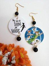 Peter Pan orecchini di carta pendenti con ciondolo a forma di cerchio e perline nere