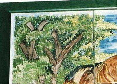 Quadro artigianale di maiolica con cavalla e puledro nel recinto