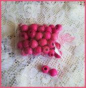 Lotto 25 perle di legno 8 mm. colore FUXIA
