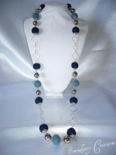 Collana in feltro Blu e Azzurro