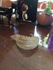 Foglia oro e trasparente , ricambio per lampadari Venini , Mazzega, Artemide, Maria Teresa, Toso, Barovier , con pezzi rotti, in vetro soffiato di Murano