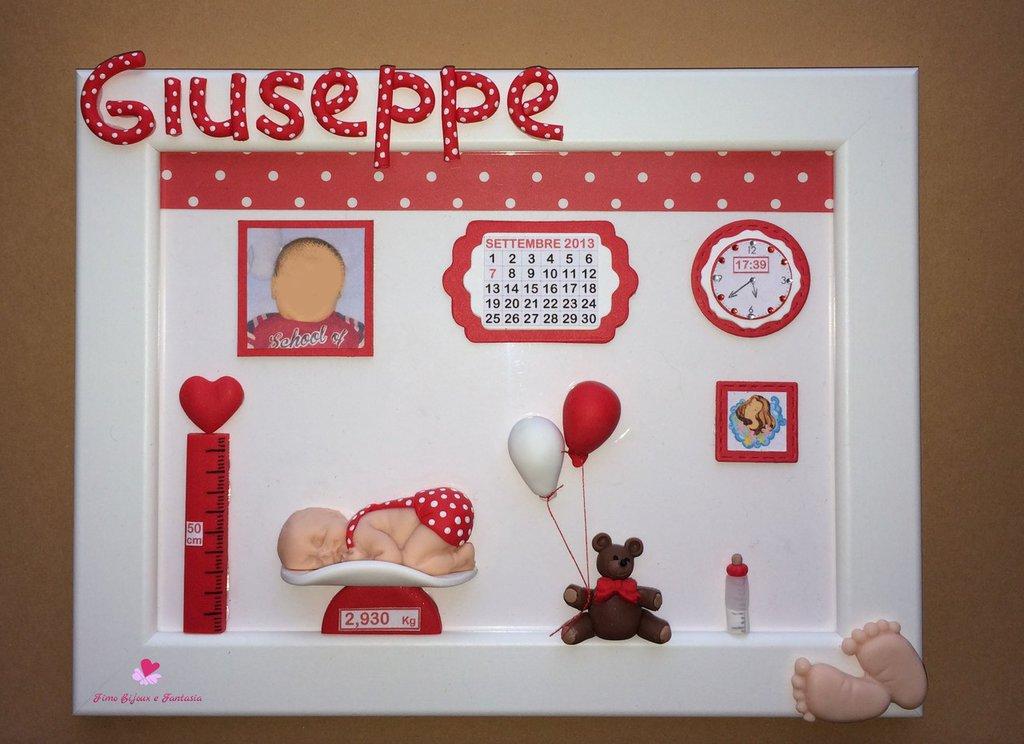 Quadretti nascita decorati a mano in fimo e cartoncino sui toni del bianco e rosso