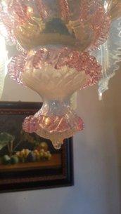 Fiocco e finale pendenti, ricambi per lampadari di Venini , Mazzega, Arlecchino, Toso, con pezzi rotti , in vetro soffiato di Murano, color rosa e opalino